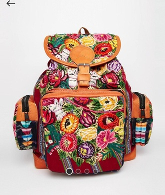 bag ethnic rucksack floral backpack handmade tapestries festival
