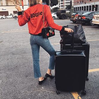 jacket tumblr red jacket bomber jacket bag black bag gucci gucci bag shoes black shoes flats suitcase denim jeans cropped bootcut jeans cropped bootcut blue jeans