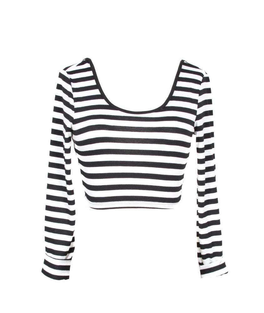 INSANE JUNGLE BLACK AND WHITE HORIZONTAL STRIPES BASIC LONG SLEEVE CROP TOP SML