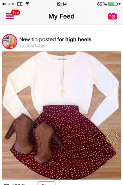 skirt shoes booties brown booties brown boots boots heels laced booties sweater burgundy skirt burgundy skirt brown ankle boots taupe or black blouse long sleeve crop top white crop tops skater skirt red skirt