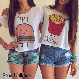 shirt bff shirts denim shorts white top graphic tee hamburger burger tee top best friends fries t-shirt short summer bff luxy panda 28719 girly girl girly wishlist best friend shirts best friends top bestfriend shirt white t-shirt