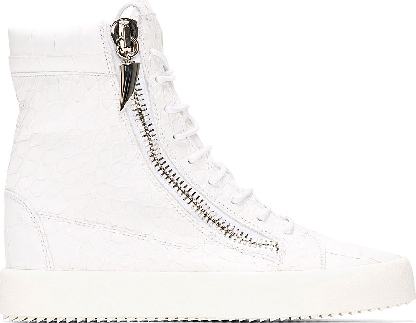 Giuseppe Zanotti - White Croc-Embossed High-Top Sneakers