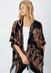 cardigan,kimono,burnout kimono,velvet kimono,floral kimono,boho,bohemian kimono,bohemian,festival,festival outfit