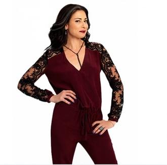 jumpsuit black lace burgundy