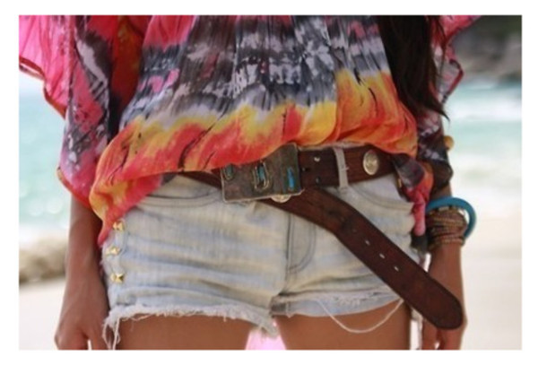 shirt summer outfits tie dye beach blouse colorful shorts Belt