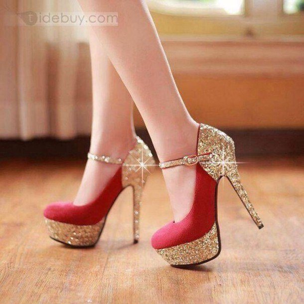 Shoes: gold, red, heel, prom, glitter, glamour, glitter shoes, red ...