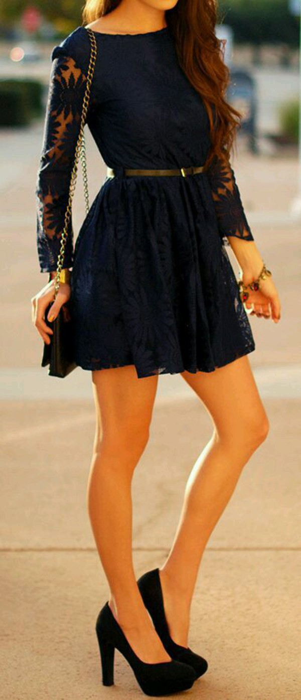 dress sixkisses women lace dark blue dress sexy dress navy dress lace dress