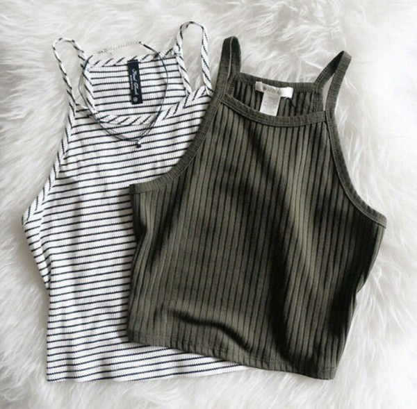 shirt top crop tops striped top grey top black and white