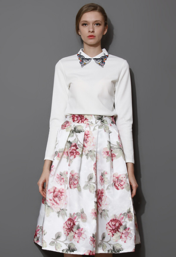 blouse embellished butterfly embroidered collar top