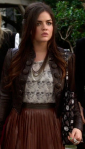 jacket,leather jacket,buttons,cute,big buttons,cropped,bomber jacket,lucy hale,aria montgomery,pretty little liars,skull,necklace,skirt,brown leather jacket,blouse