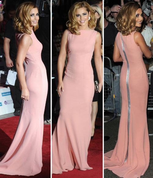 dress cheryl cole highneck chiffon floor length dress victoria beckham spring collection