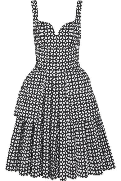 Alexander McQueen|Bonded laser-cut cotton-poplin dress|NET-A-PORTER.COM