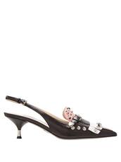 embellished,pumps,leather,black,pink,shoes