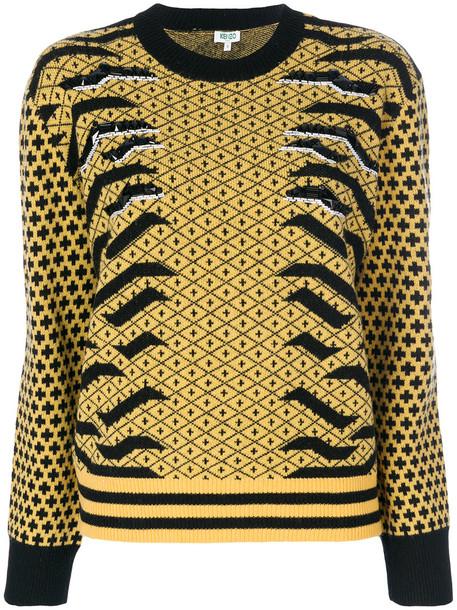 Kenzo - contrast print sweatshirt - women - Polyamide/Wool - L, Yellow/Orange, Polyamide/Wool