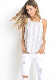 tank top,white,multi color,halter neck,halter tank,stripes,vertical stripes,double straps,cotton
