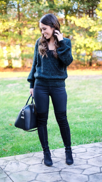 mrscasual blogger sweater tank top jeans shoes bag jewels handbag winter outfits boots thigh high boots
