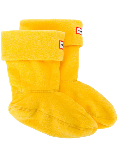 Hunter - logo patch slipper socks - women - polyester - M, Yellow/Orange, polyester