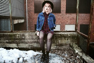 thelma malna blogger denim jacket shirt dress grunge drmartens