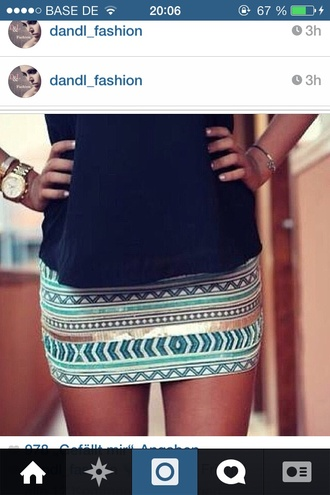 skirt coulorful aztec skirt gold glitter