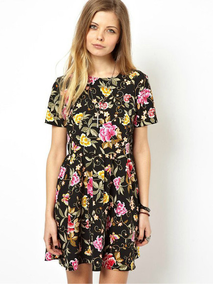 dress floral dress spring dress spring fashion cotton pleated dress amazing ddress