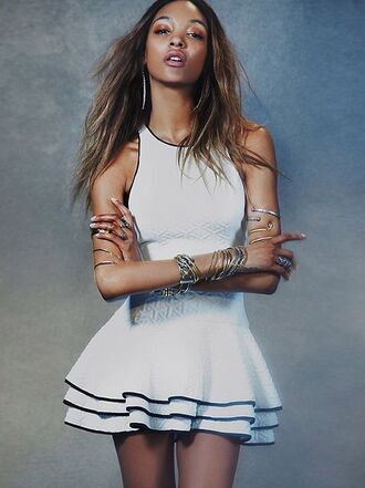 dress white dress fitted dress jewels contrast hem free people jourdan dunn ruffle tank dress black and white sporty style hem
