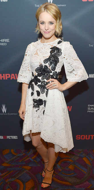 dress lace dress rachel mc adams sandals asymmetrical asymmetrical dress