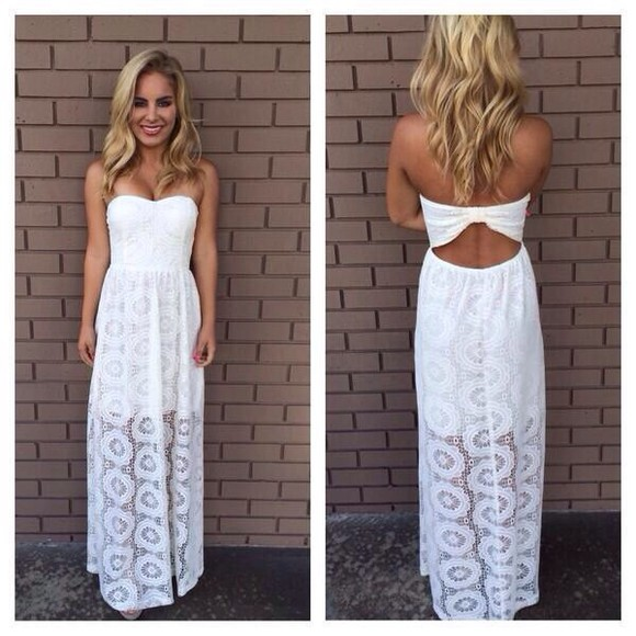 dress maxi dress white white dress lace dress lace long dress open back dresses maxi maxi, white, cut out, lace, summer dress