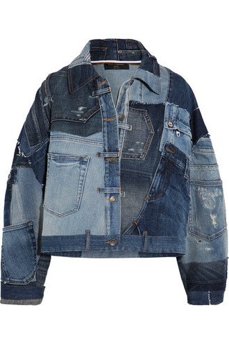 jacket denim jacket denim patchwork