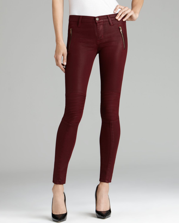 Hudson Jeans - Stark Moto Super Skinny in Crimson Wax | Bloomingdale's