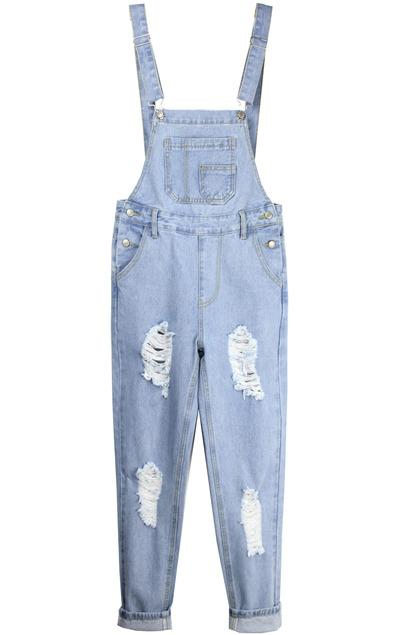Straps pocket ripped blue denim overalls