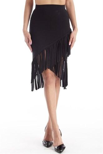 skirt trendyish wrap skirt tight bodcon fringes asymmetrical uneven hem fall outfits
