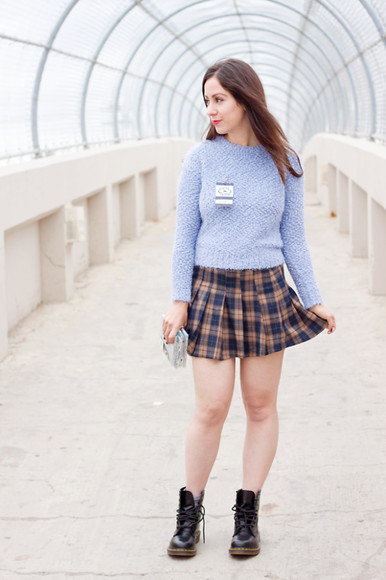 DrMartens blogger tartan adventures in fashion back to school pleated skirt