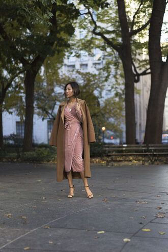 song of style blogger dress shoes coat bag jewels fall outfits pink dress velvet dress wrap dress camel coat high heel sandals