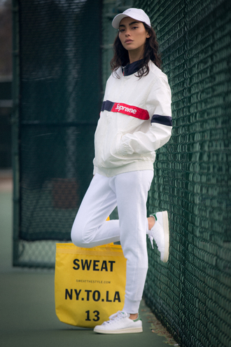 sweat the style blogger joggers sportswear white sweater supreme