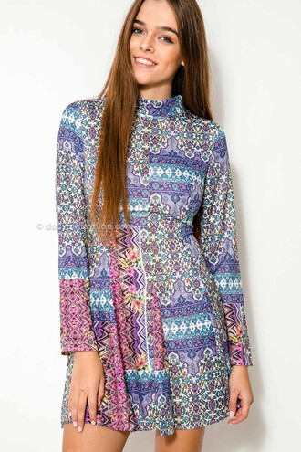 dress dolly girl fashion colorful dress turtleneck pleated dress flare cute dress purple print dress purple dress tribal dress blue tribal dress tribal pattern