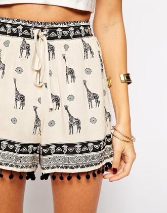 shorts animal print black cream white hippie alternative bohemian pattern pom pom pom pom shorts