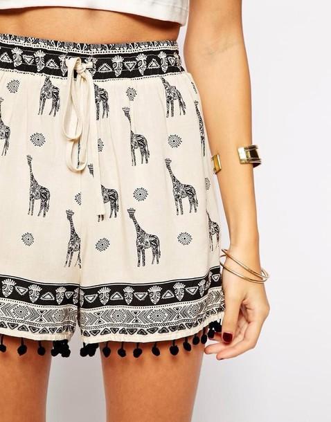 shorts animal print black cream white hippie alternative alternative bohemian pattern pom pom pom pom shorts