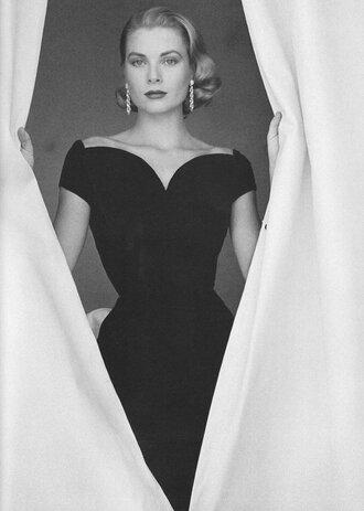 dress little black dress grace kelly bodycon dress earrings