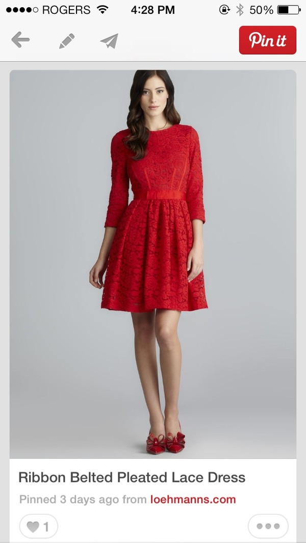Dress: red, lace, long sleeves, long sleeve dress, short - Wheretoget