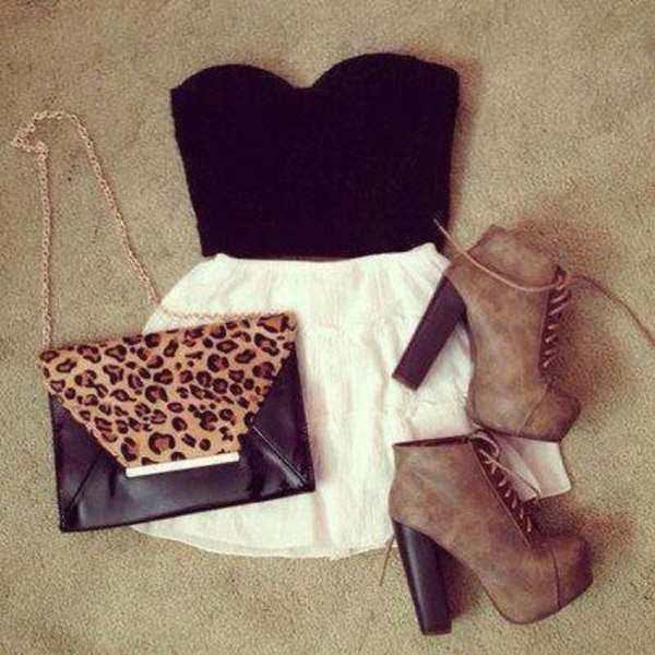 shoes brown high heels platform shoes skirt tank top bag skater skirt t-shirt black top full length