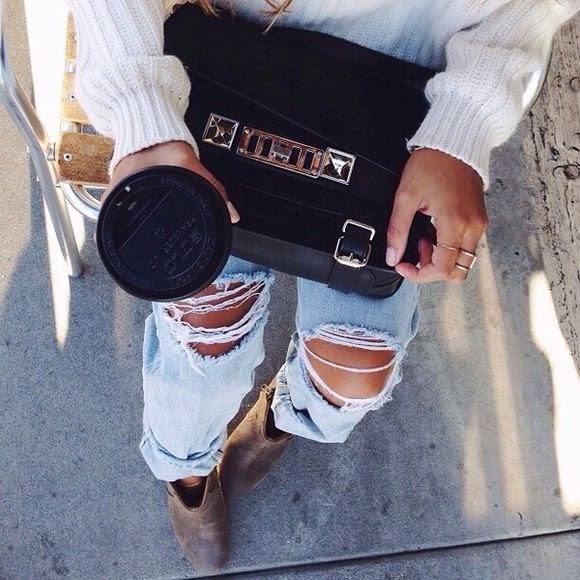 jeans distressed jeans sweater bag purse black sexy shoes