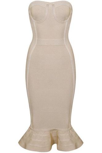 dress nude bustier dress midi dress