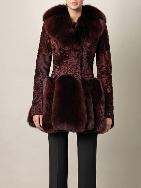 Alexander Mcqueen Astrakhan and Fox Fur Coat in Purple