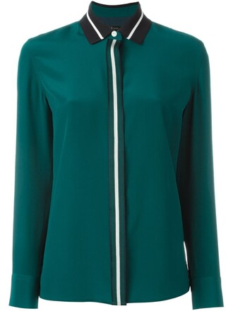 shirt collar shirt women spandex silk green top