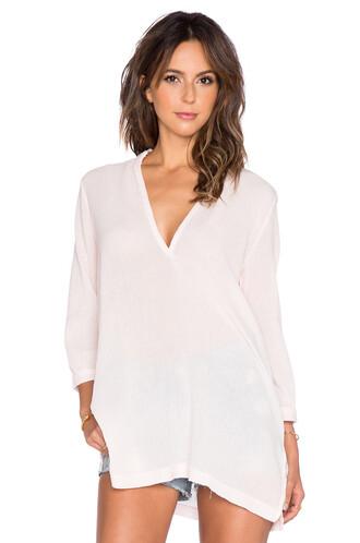blouse v neck pink top