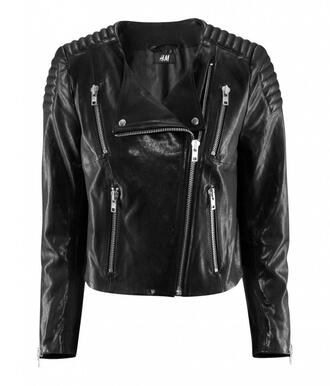 jacket black leather jacket leather biker jacket h&m streetwear
