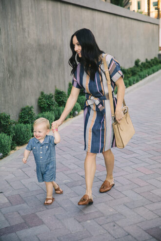 outfits&outings blogger dress shoes bag jewels mother and child summer outfits loafers striped dress