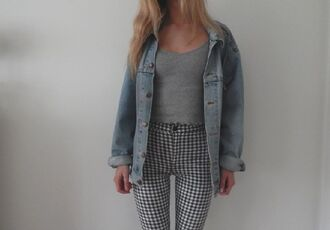 jeans pants fashion style grunge denim jacket grey tank top jacket