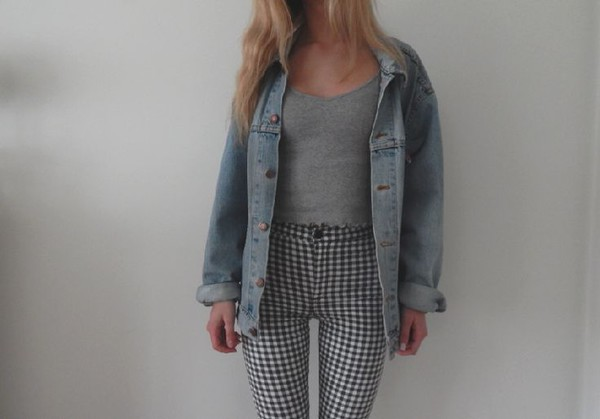 jeans pants fashion style grunge jean jackets grey tank top jacket