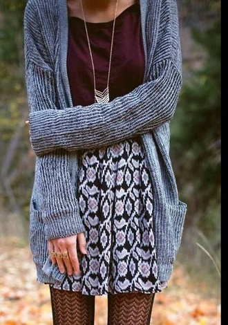 skirt cardigan whole outfit pattern burgundy jewels fall outfits boho tights purple necklace stylish black and white